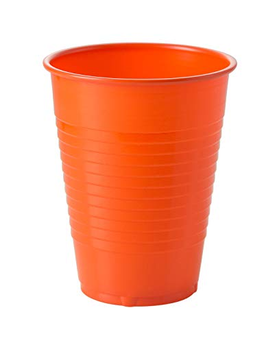 Exquisite 12 oz Orange Plastic Cups II 50 Count Bulk Pack Disposable Party Cups II Premium Quality Plastic Tumblers for Parties