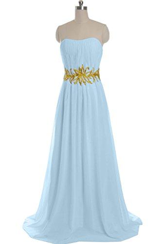 MACloth Women's Strapless Long Lace Chiffon Prom Dress Formal Party Ball Gown (EU40, Turquesa)