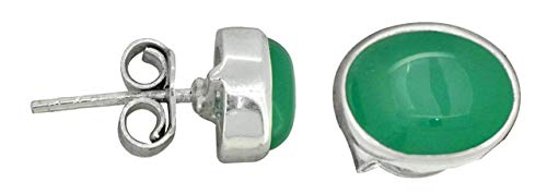 YoTreasure Green Onyx Stud Earrings Solid 925 Sterling Silver Gemstone Jewelry