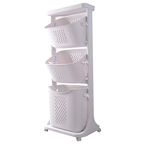 GANCHUN Laundry Basket Large Clothes Storage & Organization with Rolling Wheels,Handles and Ventilate Hole Pattern for Home Compact Storage (Three Baskets)