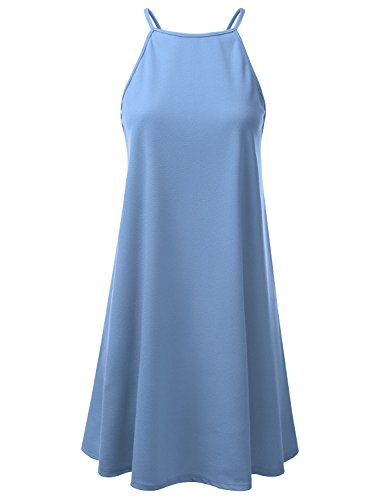 Doublju Square Neck Halter Neck Swing Dress for Women with Plus Size (Made in USA) Denim X-Large Denim Blue Jean Dress