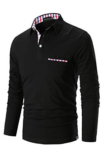 Manches Polo Polo Noir À Longues Homme Ycueust Elégant Polo Coton Shirts HE9D2I