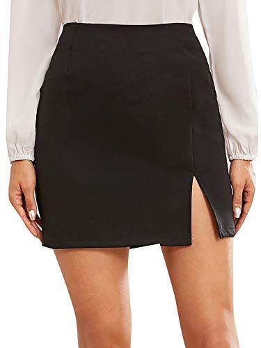 WDIRARA Women's Summer Solid Split Hem Zip Back Mini Workwear Skirt
