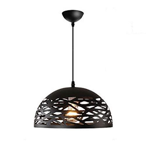 Lampara de techo negra E27, altura regulable, redonda, metal vintage, LED, lampara para mesa de comedor, para balcon, comedor, salon, dormitorio, oficina, bar, pasillo, cocina, φ30 cm