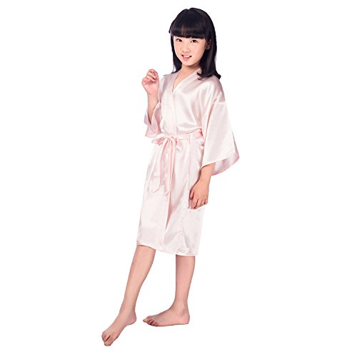 Children's Silk Stain Pure Kimono Wedding Dressing Gown Kimono Robes Bridal Lingerie Sleepwear,Pink,12