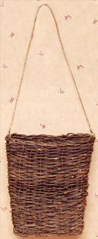 Woven Willow Twig Hanging Vine Basket Jute Hanger Country Primitive Wall ()