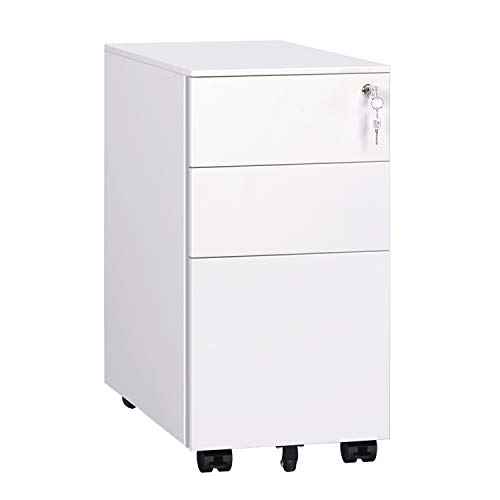 DEVAISE Locking File Cabinet, 3 Drawer Rolling Metal Narrow Filing Cabinet, Fully Assembled Except Wheels