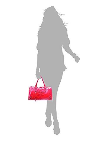 SUPERFLYBAGS Borsa in vera pelle effetto invecchiato modello Barcellona M + specchio Made in Italy Rosa