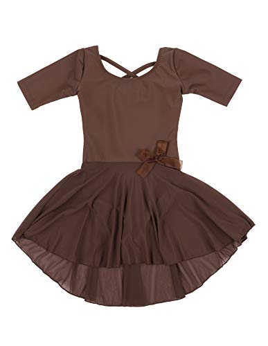 Leveret Kids Girls Skirt Leotard Brown Long Sleeve
