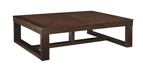 Ashley Furniture Signature Design - Watson Coffee Table - Cocktail Height - Rectangular - Dark - Cherry Distressed Faux Finish