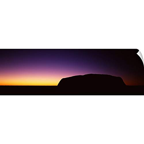 Wall Peel Wall Art Print Entitled Silhouette of Ayers Rock Formations on a Landscape, Northern Territory, Australia 36