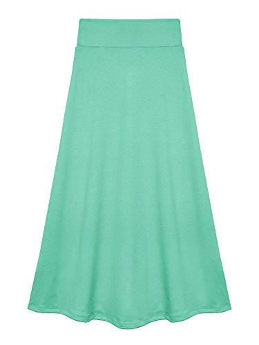 Bello Giovane Girls 7-16 Years Solid Maxi Skirt (Small, Mint)