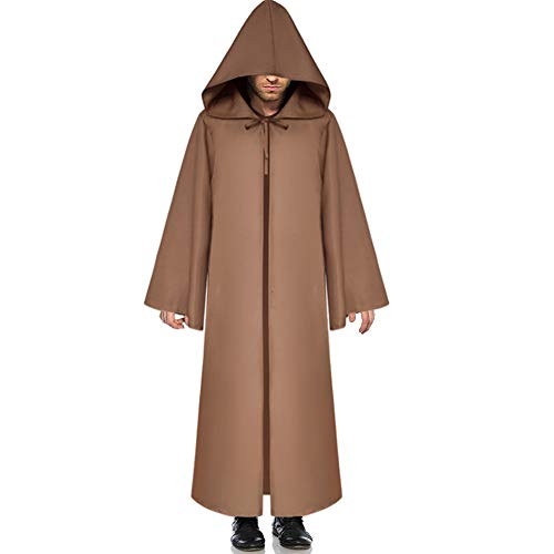 G Lake Halloween Hooded Cloak Knight Robe Cosplay Medieval Cape Christmas Party Costume for Adult (Brown XL) -