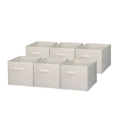 Sodynee Foldable Cloth Storage Cube Basket Bins Organizer Containers Drawers, 6 Pack, Beige, Beige
