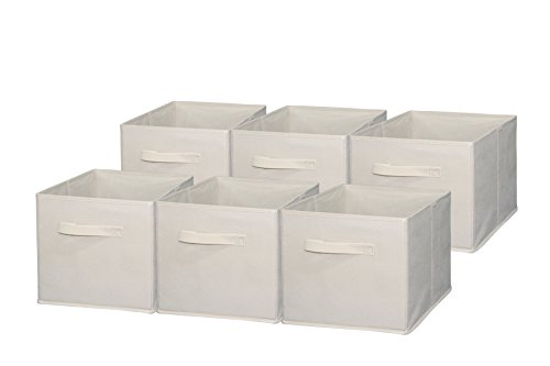 Collapsible Storage Bins (Sodynee Foldable Cloth Storage Cube Basket Bins Organizer Containers Drawers, 6 Pack, Beige)