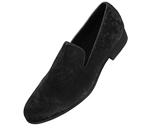 Navy Dress Black Shoes - Amali Mens Crushed Velvet Smoking Slipper Nightclub Loafer, Slip On Formal Dress Shoe