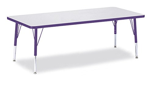 Berries 6413JCT004 Rectangle Activity Table, T-Height, 30'' x 72'', Gray/Purple/Purple by Berries