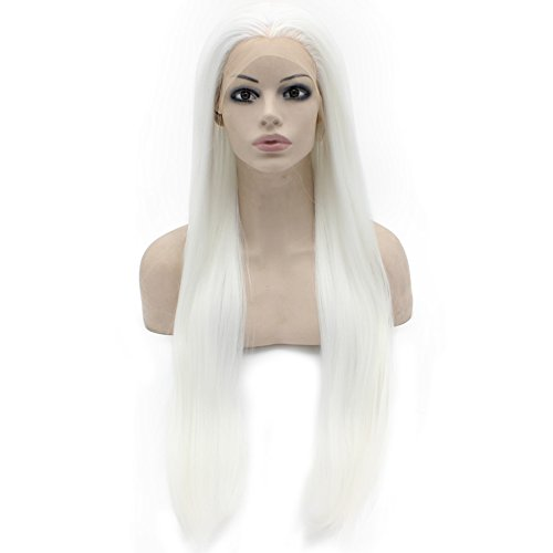 30inch Long White Synthetic Hair Fiber Natural Wigs Long Straight Lace Front Wig at Mxangel (Angel Halloween Hair)