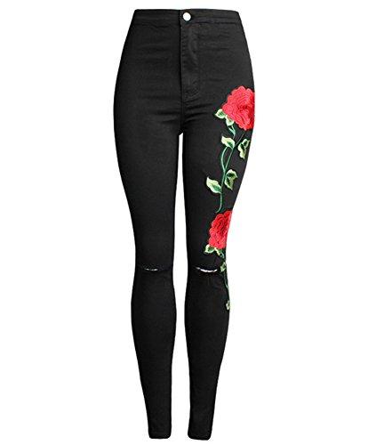 Con Stampa Rosa Sottili Stretch Denim Pantaloni Matita Nero Donna Jeans Lunghi Leggings Boyfriend CFxPzqv