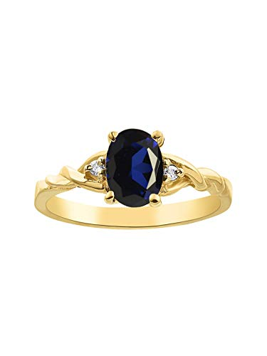 Diamond & Sapphire Ring set in Yellow Gold Plated (Best Yellow Sapphire)