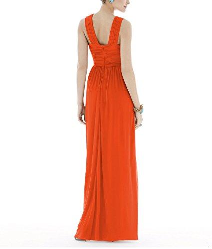 Ssyiz Mujer Elegante Vestidos V Cuello Plisado Dama de Honor de Boda de Noche de Fiesta(Privado Personalizado) Naranja