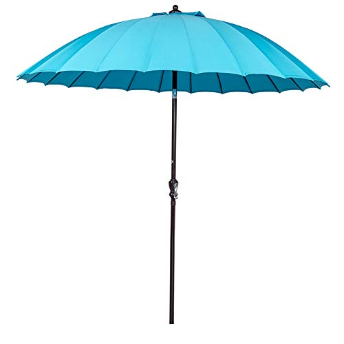 Sundale Outdoor 9 Ft Steel Patio Umbrella Table Market Umbrella with Crank Lift and Push Button Tilt, for Garden, Deck, Backyard, Pool, 24 Fiberglass Ribs, 100 Polyester Canopy Blue