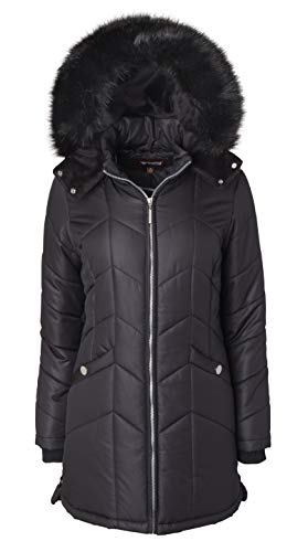 Women Long Down Alternative Winter Puffer Coat Zip-Off Plush Lined Fur Trim Hood - Black (Large)