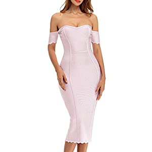 whoinshop Women's Rayon Off The Shoulder Cocktail Bandage Dress with Sleeves