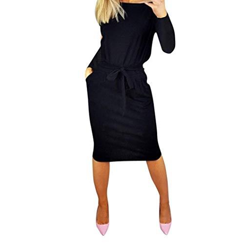 ❤️ Vestidos de Fiesta Mujer,Modaworld Vestido Casual otoñal de Bolsillo para Mujer Vestido Largo de Fiesta de Noche de Manga Larga para Mujer Dama Bodycon Sexy niña Negro