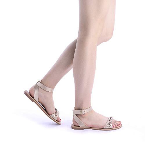 Pu Ankle Flat B PAIRS Women's HOBOO Strap Sandals Fashion DREAM Gold BOvqZWwB
