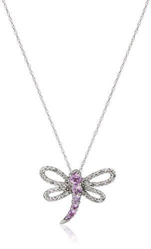 10k White-Gold Dragonfly Pink Sapphire and Diamond Pendant Necklace (0.09 cttw, I-J Color, I3 Clarity), 18""