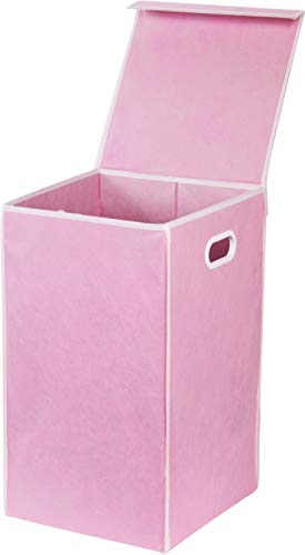 - Simple Houseware Foldable Laundry Hamper Basket with Lid, Pink