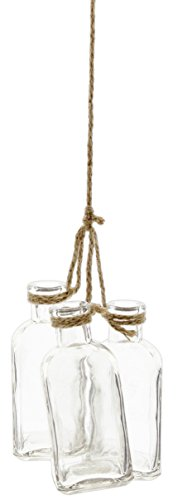 (Park Hill Set of 3 Decorative Glass Jar Vases Hanging from Jute Rope)