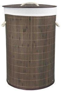 - Home Basics Foldable Bamboo Laundry Basket Hamper (Round, Brown)