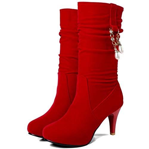 Rouge Bottes 35 Femmes Haut Talon Coolcept Slouchy qUOf1