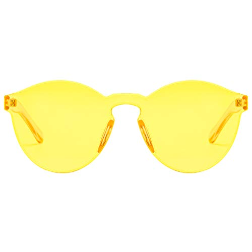 One Piece Rimless Sunglasses Transparent Candy Color Tinted Eyewear(Yellow)