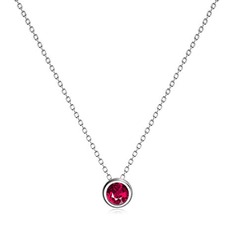 AXELUNA 925 Sterling Silver Created Ruby Necklace July Birthstone Jewelry for Women Teen Girls (July - Red)