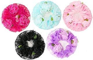 Buorsa Set of 5 Children's Flower Hair Net Ballet Dance Skating Bun Cover Elastic Band Hair Nets (Dance Bun Cover)