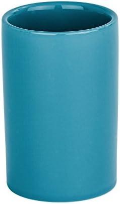 WENKO Zahnputzbecher Polaris, hochwertiger Zahnbürstenhalter für Zahnbürste und Zahnpasta aus edler Keramik, Ø 7,5 x 11,2 cm, Petrol