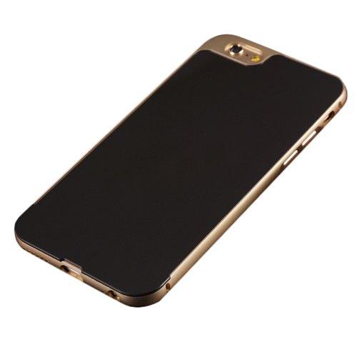E8Q Delgado prueba de golpes espejo El caso de parachoques del metal de nuevo caso de la cubierta protectora para iPhone 6 6S 4.7  Oro