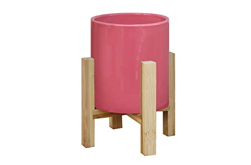 (TABOR TOOLS Ceramic Planters with (incl.) Bamboo Stand (Medium - Pot Height 6.1