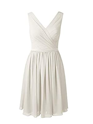 Alicepub V-Neck Chiffon Bridesmaid Dress Short Party Cocktail Homecoming Dress Sleeveless