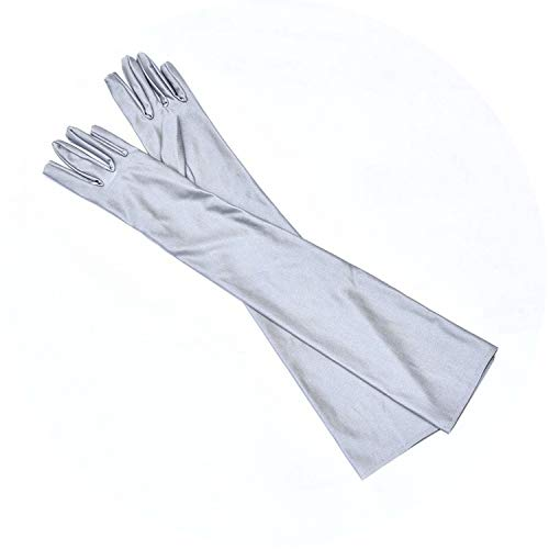 Satin Long Finger Elbow Sun Protection Gloves Opera Evening Party Prom Costume Cooktail Gloves Women,Gray -