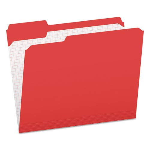 Reinforced Top Tab File Folders, 1/3 Cut, Letter, Red, 100/Box