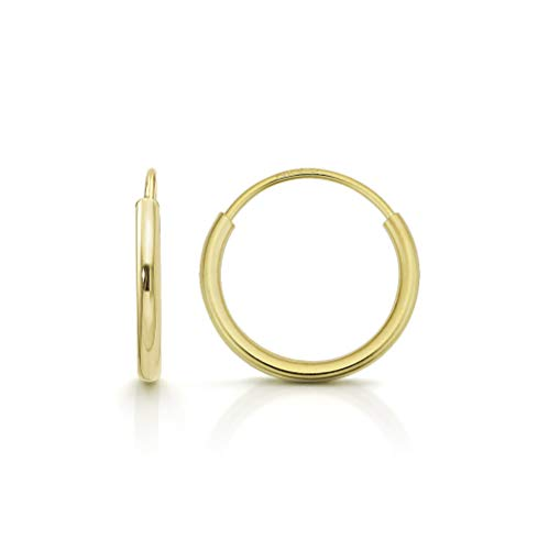 14k Gold Endless Hoop Earrings, Size 10mm - 20mm and 3-Piece Sets, Small Yellow 1mm Thin for Women and Men Ear Nose Cartilage Helix Tragus Lip, by Giorgio Bergamo (10mm) ()