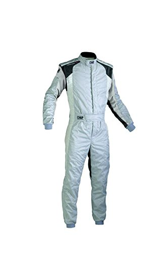 OMP IA0184408964 Tecnica Evo Racing Suit, Gray//Black, Size 64
