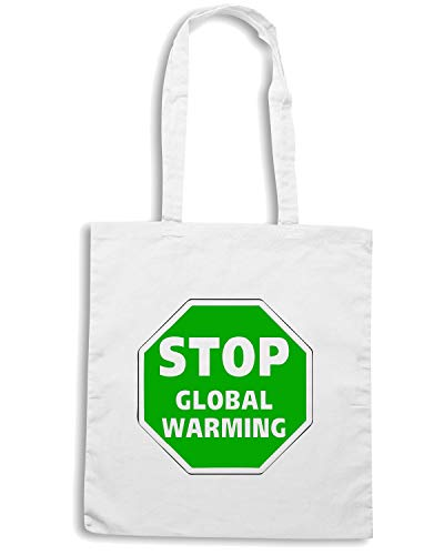 T-Shirtshock Borsa Shopper Bianca FUN0316 15T STOP GLOBAL WARNING DECAL 94978