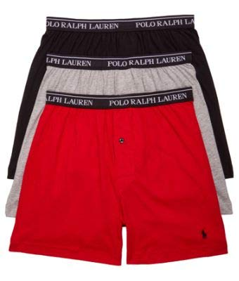 POLO RALPH LAUREN Classic Fit Cotton Boxers 3-Pack, M, Black/Red/Grey