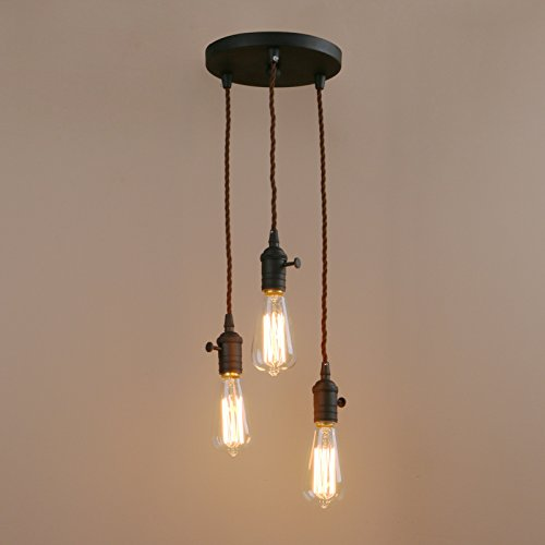 Pathson 3 Lights Pendant Light Fixtures with Vintage Style, Industrial Simple Home Ceiling Light Fixture Flush Mount with Adjustable Textile Cord Pendant Cluster Light (Bulbs Not Included) by Pathson