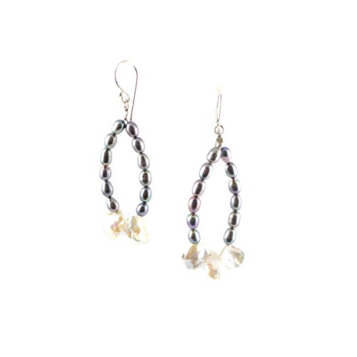 Beaded Hoop Earrings with Iridescent Peacock Pearls, Freshwater Keishi Pearls